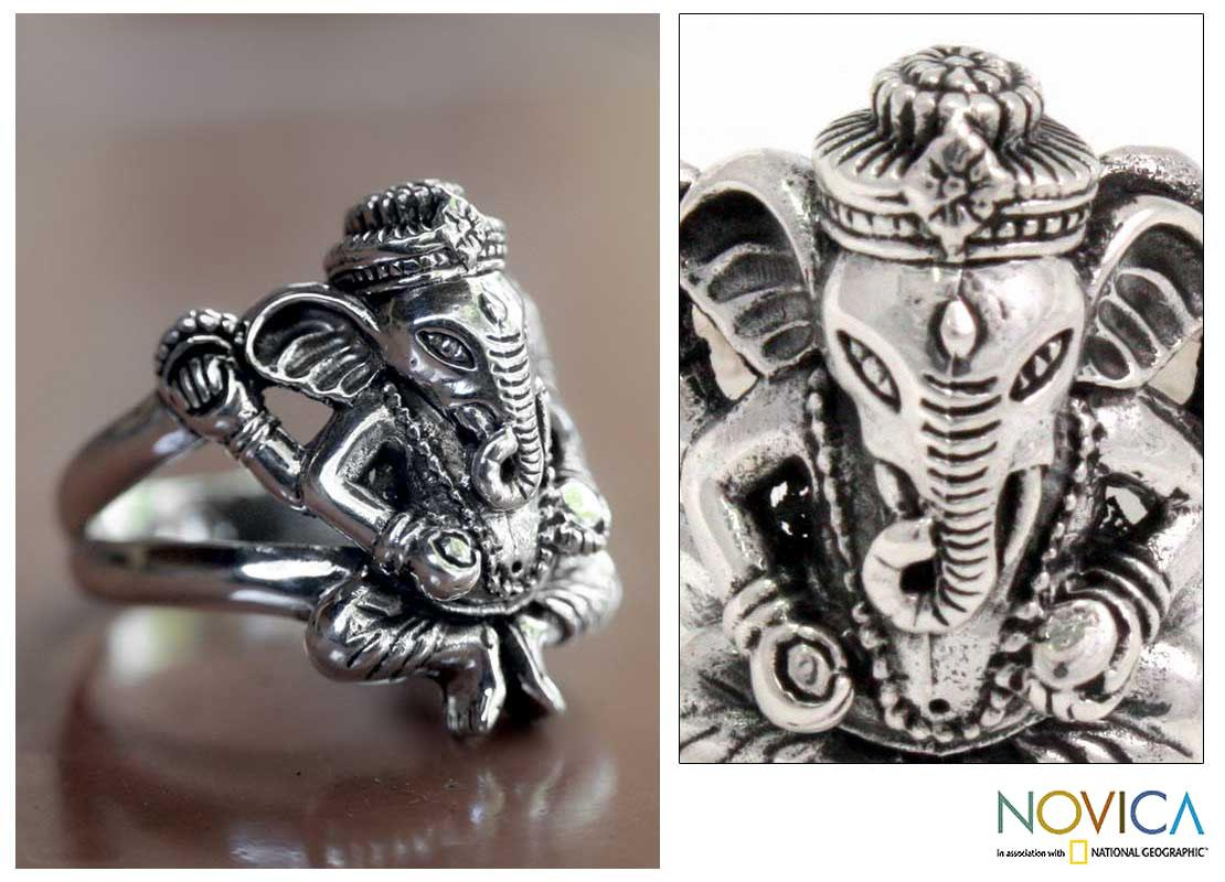 Mens-Sterling-Silver-Lord-Ganesha-Ring-Indonesia-L78136220
